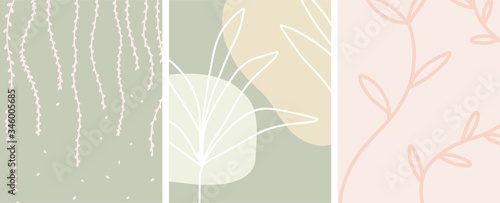 Abstract botanical art with organic shapes and a neutral color palette, vector s Fototapet