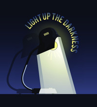 Desk Lamp Vector Illustration.  Two-in-One Illustration Of Desk Lamp Switch Off And Switch On. [EPS 10]
