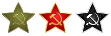 Vector Set Of Soviet Stars For Military Side Caps. Field (green), Ceremonial (red) And Monochrome (black) Signs With A Hammer And Sickle. Historical Symbol Of Old Red Army Of USSR. Realistic Details.