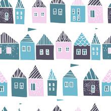 Hand Drawn Cute  Houses.  Vect...