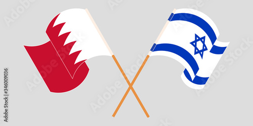 Photo Crossed and waving flags of Israel and Bahrain
