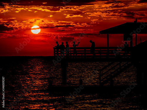 Sunset Fishing at MayDay Park Pier in Daphne, Alabama