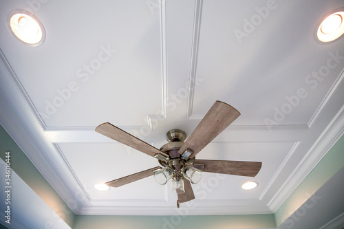 Obraz na plátně White tray master bedroom ceiling in small new construction house with windows a