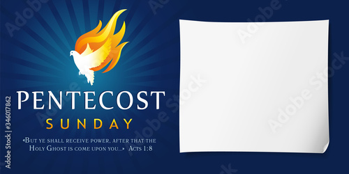 Pentecost Sunday poster with dove Holy Spirit in flame Canvas Print
