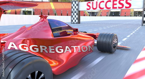 Aggregation and success - pictured as word Aggregation and a f1 car, to symboliz Canvas Print