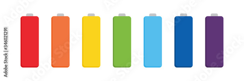 Set, collection of vector colorful batteries, accumulators isolated on white background Canvas Print