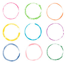 Hand Drawn Round Vector Frames, Colorful Set With Doodle Border Circles