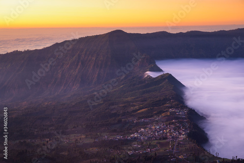 Photo Mount bromo, Bromo Tengger, Semeru National Park is the famous tourist attraction in East Java Indonesia