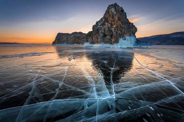 Oltrek island on lake Baikal in winter