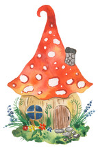 Watercolor Illustration Of A Fairytale House With A Mushroom Roof.