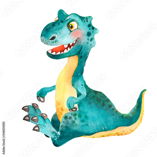 Watercolor childish illustration of a playful little green-blue sitting dinosaur Wall mural