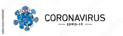 Obraz Coronavirus Covid-19 colorful handwritten line grange art abstract design icon logo infographic banner - fototapety do salonu