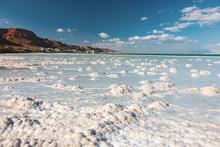 Texture Of Dead Sea. Salty Sea...