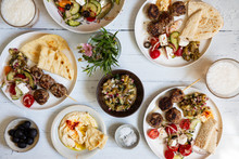 Greek Meze Meal With Lamb Meat...
