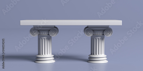 Marble table with pillar columns, classic ancient greek against blue background Wallpaper Mural