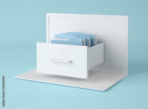 3D Illustration. Computer laptop and file cabinet with folders.