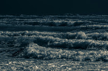 Choppy Incoming Waves By Moonlight