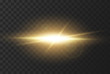 Realistic effect of sunlight with glare and rays of the sun. The effect of a flash or light of gold color. Vector illustration on dark background