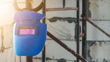 Old Blue Welding Mask Hanging ...