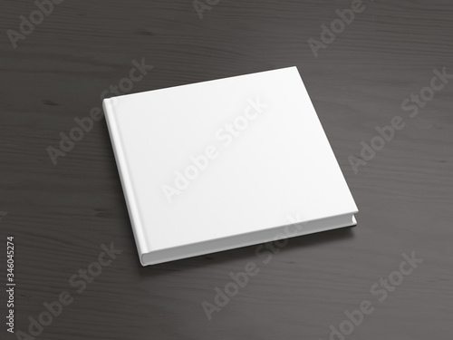 Fotografia, Obraz Blank square book cover mock up on black background