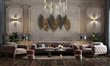 canvas print picture - interior of Luxurious classic reception hall design with armchair, console, vintage white and gray wall effect, ornamental plants, parquet flooring