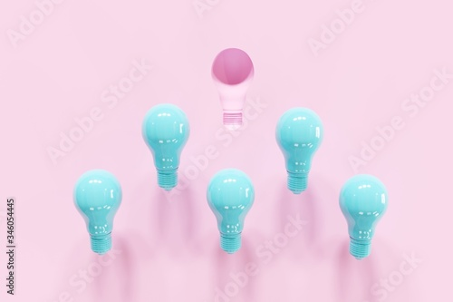 Outstanding Pink Light Bulb Slump Leadership With Blue Light Bulbs On Pink Background 3d Render Minimal Creative Idea Buy This Stock Illustration And Explore Similar Illustrations At Adobe Stock Adobe Stock