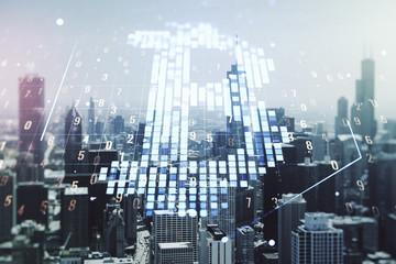 Virtual Bitcoin hologram on Chicago skyline background. Multiexposure