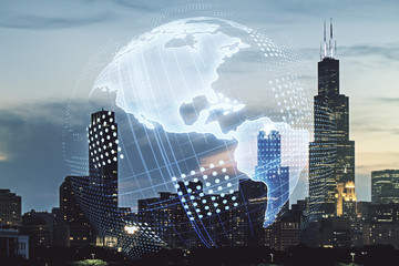 Double exposure of digital map of North America hologram on Chicago city skyscrapers background, research and strategy concept