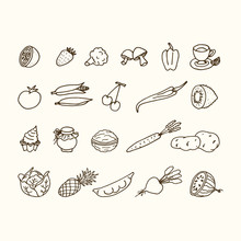 Hand Drawn Set Of Food Ingredi...