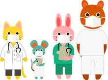 マスクを着けた動物たち 医療従事者 病院スタッフ お医者さん 看護師さん