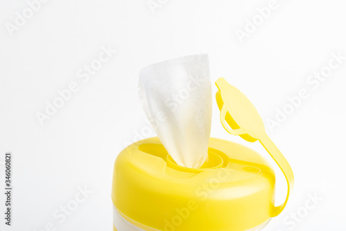Open Yellow Top Cap Of A Disinfectant Wipes Plastic Container