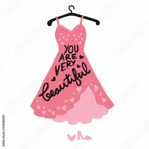 Fotografie, Obraz You are very beautiful word of pink dress vector illustration