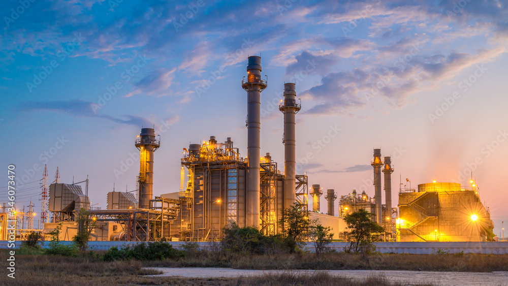 Fototapeta Gas turbine electrical power plant with in Twilight power for factory energy concept.
