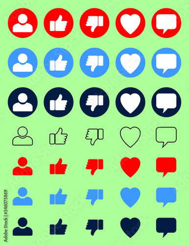 like, accept, dislike, non acceptable, love, heart, person, comment icons set Canvas Print