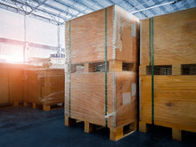Interior Of Storage Warehouse, Large Shipment Crate Wooden Pallet, Cargo Import And Export, Warehouse Logistics And Transport