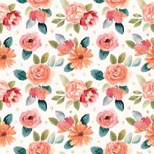 Peach Green Flower Watercolor Seamless Pattern