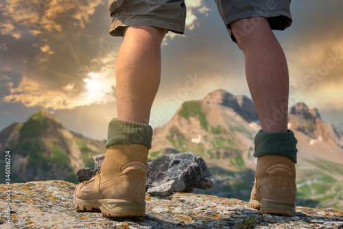 Obraz close-up of a hiker's foots in the mountain - fototapety do salonu