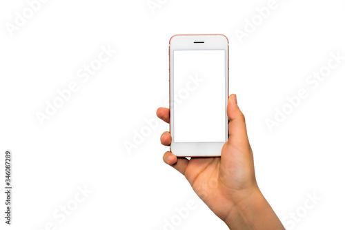Fototapeta Smartphone mockup. Close up hand holding black phone white screen. Isolated on white background. Mobile phone frameless design concept. obraz