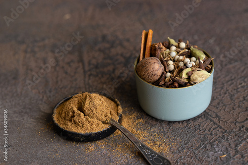 Different spices black and white peppercorns, cloves, cinnamon, mace, cardamom, cumin Canvas Print