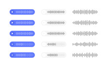 Set Voice Messages Icon With Sound Wave. Message Bubble For Social Media. Modern Flat Style Vector Illustration