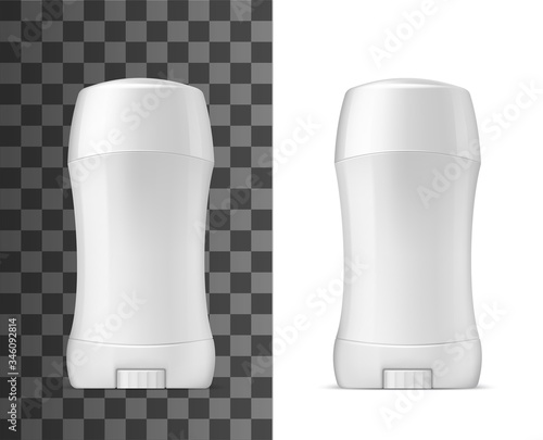 White deodorant stick with closed cap, vector realistic 3d mockup template Wallpaper Mural
