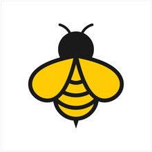 Abstract Bee Logo With Simple Line Style. Nature Bee Honey Logo Vector. Natural And Farm Honey Concepts.