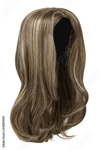 Subject shot of a natural looking ashy brown wig with blonde highlights Canvas Print