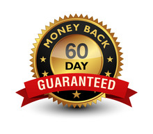 60 Day Money Back Guaranteed Golden Seal, Stamp, Badge, Stamp, Sign, Label With Red Ribbon Isolated On White Background.