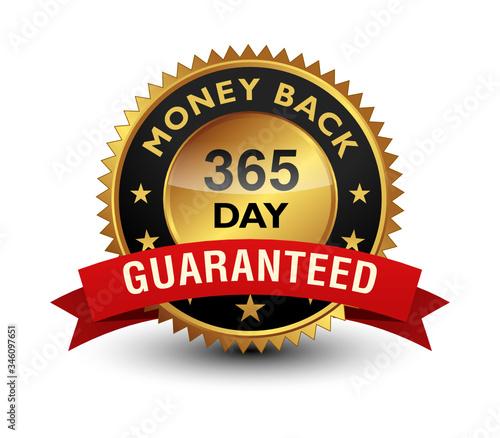 365 Day money back guaranteed golden seal, stamp, badge, stamp, sign, label with red ribbon isolated on white background Billede på lærred