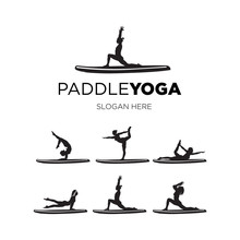 Set Woman Paddle Yoga Silhouette