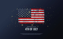 Commemorative Background Of July 4th United States Of America.
