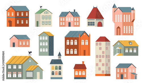 Fototapety, obrazy: Family houses set. Suburban and country buildings, apartments and cottages for life in village or town. Can be used for real estate property, architecture, countryside, home topics