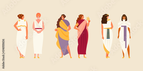 Photo Group of ancient Greek, Roman and Egyptian women in historical costumes