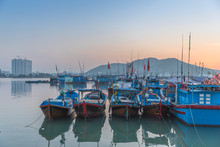 Fishing Boats At Sunset In Nha...